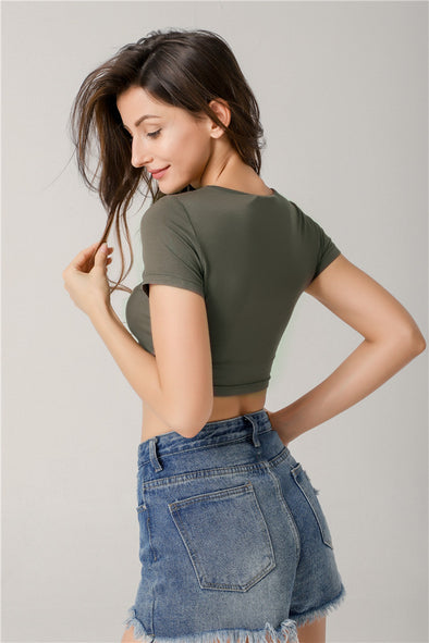 Love Story Knotted Cropped Top In Olive Green