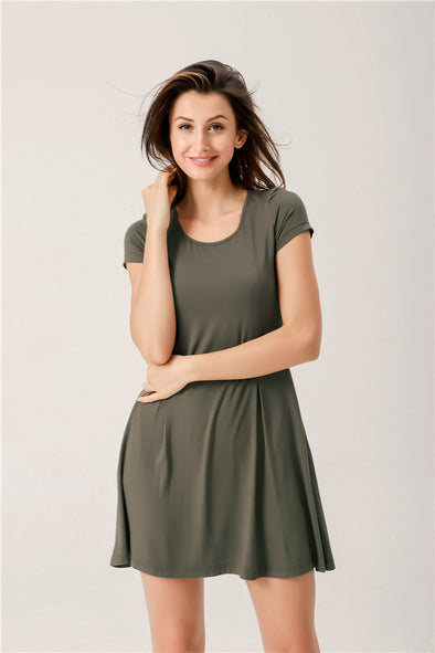 Afternoon Tea T-shirt Swing Dress In Olive Green