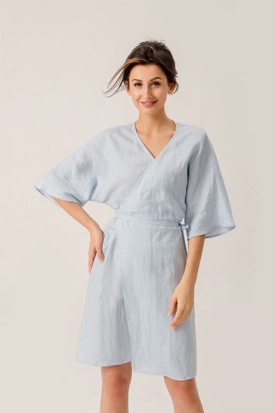 Moment For Life Linen Wrap Dress In Blue
