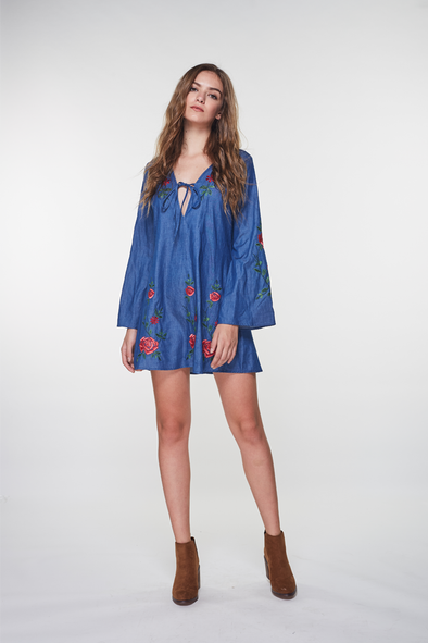 Leaves And Flowers Embroidery Mini Dress