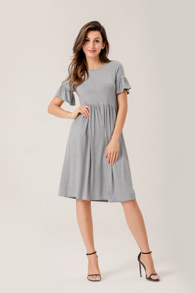 Simple Life Peplum Mid dress in gray