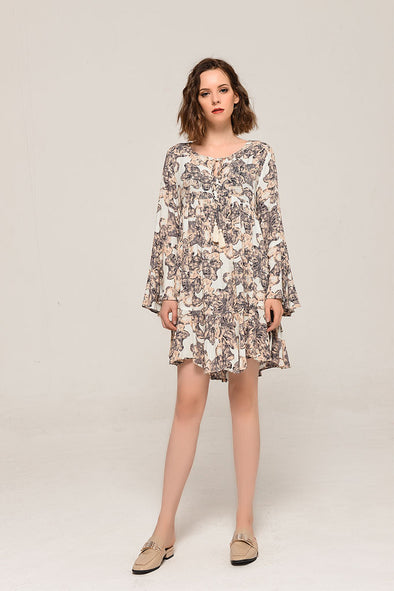 Love At First Sight Bell Sleeve Dress In Apricot