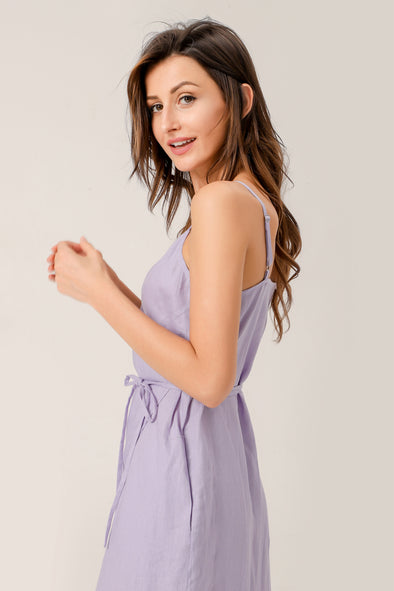 July Linen Slip Wrap Dress In Purple