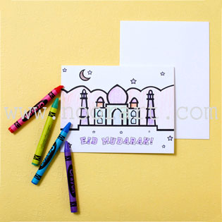 Kid's Color-in Eid Cards