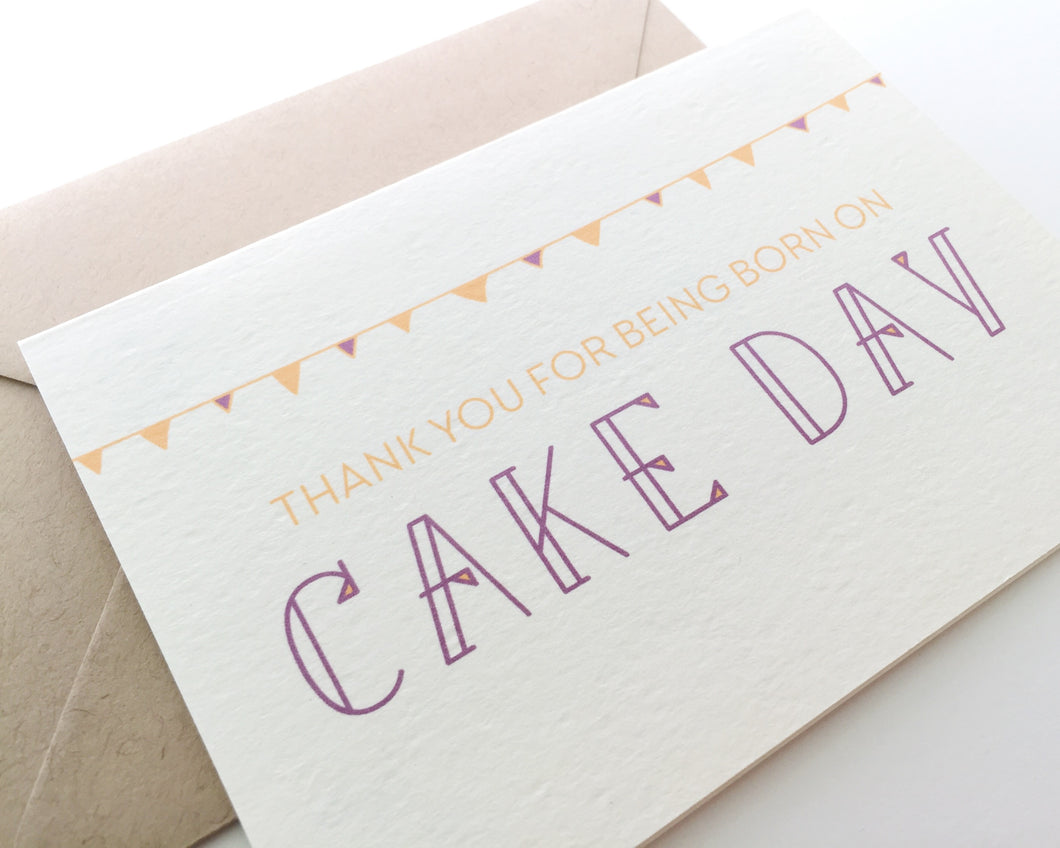 Cake Day is a funny happy birthday card paired with a kraft envelope / by Happy Ever Paper www.happyeverpaper.com