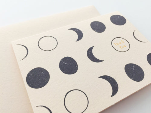 Left angled view of Moon Thank You card paired with blush pink envelope / by Happy Ever Paper