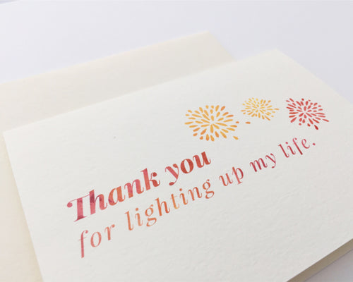 Close view of the Light Up My Life thank you card with matching cream envelope / by Happy Ever Paper