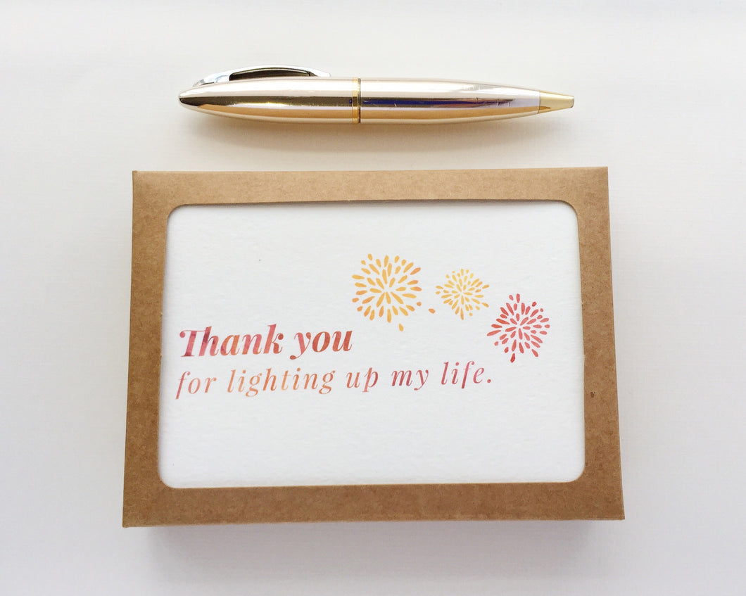 Styled image of boxed Light Up My Life thank you notes / by Happy Ever Paper