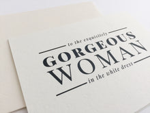 Closeup look at the Woman in White Dress wedding card with matching cream envelope, perfect to give to your bride / by Happy Ever Paper