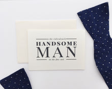 Birds-eye-view of the Man in the Fine Suit wedding card paired with a cream envelope / by Happy Ever Paper