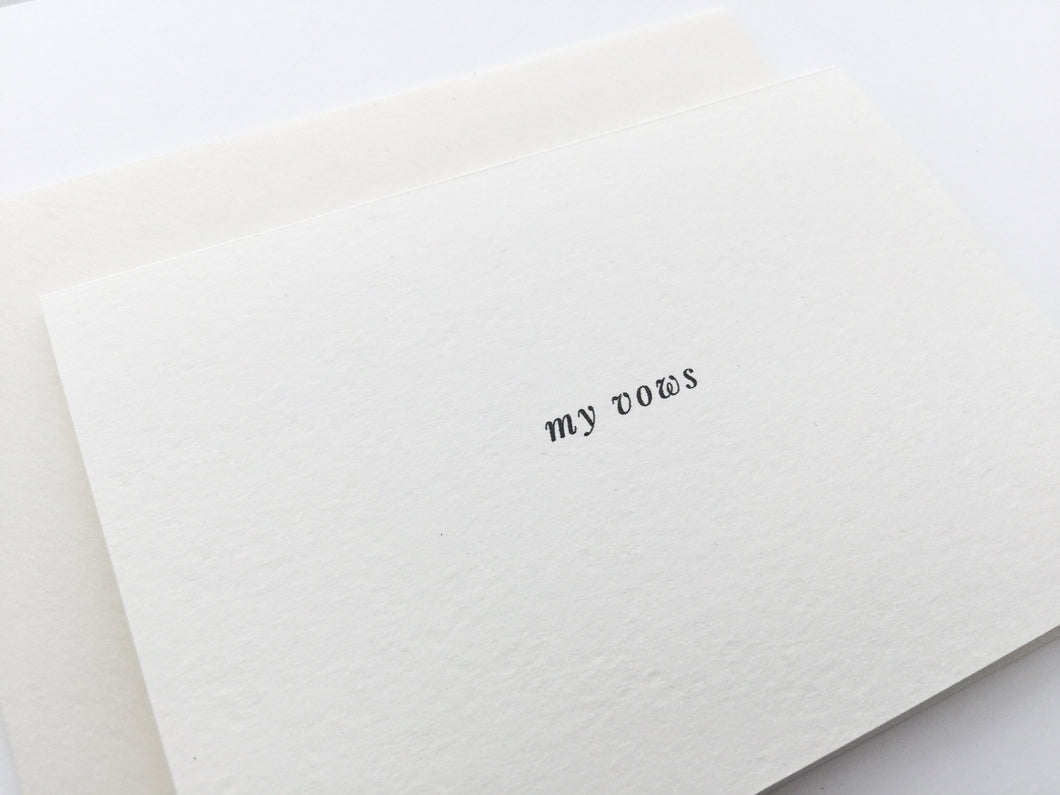 Closeup view of the My Vows wedding card with matching cream envelope, perfect to write vows in and treasure as a keepsake / by Happy Ever Paper