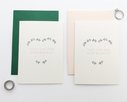 Side by side, A Note to my Groom on our Wedding Day card paired with a green envelope and A Note to my Bride on our Wedding Day paired with a blush pink envelope / by Happy Ever Paper