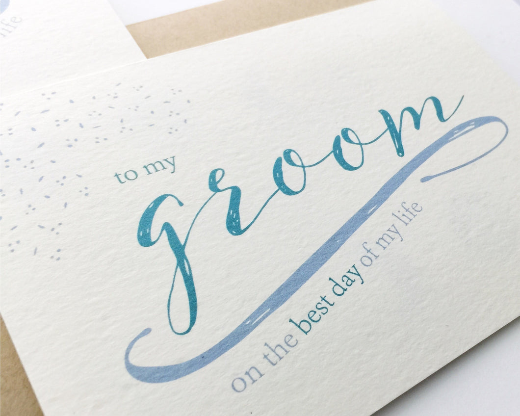 A close view of the groom-styled Best Day of My Life Wedding Card paired with a kraft envelope / by Happy Ever Paper