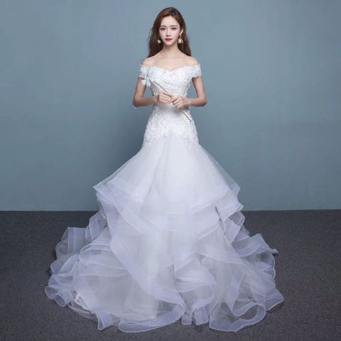 Off Shoulder Ruffle Organza Wedding Gown - Gowns.sg