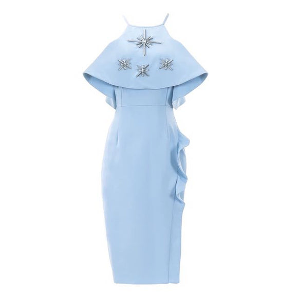 Exquisite Blue Ruffles Dress - Gowns.sg