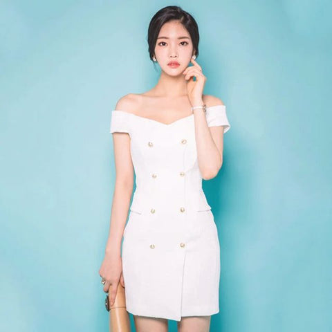 White Military Dress With Gold Buttons - Gowns.sg