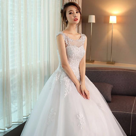 Illusion Neckline Exquisite Ball Gown - Gowns.sg