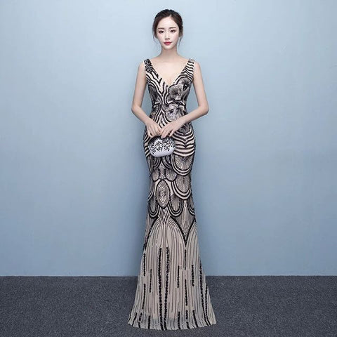 <best><EG002>Black Sequinned Evening Gown - Gowns.sg