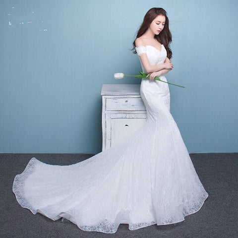 Off Shoulder Embellished Fishtail Gown - Gowns.sg