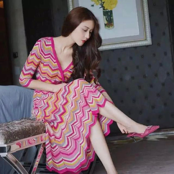 Pink Patterned Wrap Dress