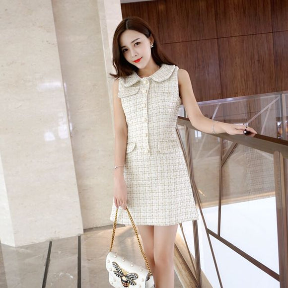 Tweed Dress In Cream - Gowns.sg