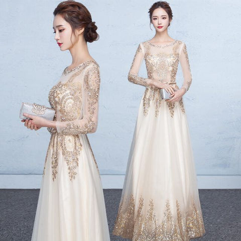 Sleeve Glitter Gold Gown