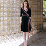Black Wrap Dress With Color Lining - Gowns.sg