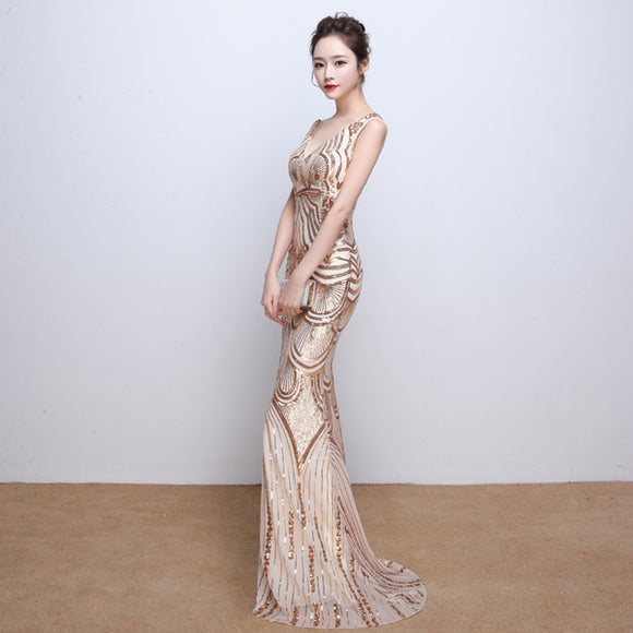Gold Sequinned Evening Gown - Gowns.sg