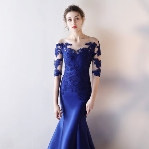 <best><EG043>Electric Blue Mesh Fishtail Gown - Gowns.sg