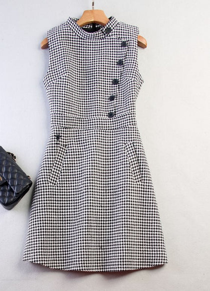 High Neck Houndstooth Dress - Gowns.sg