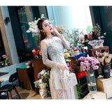 <EG044>Floral Beaded Mini Gown - Gowns.sg