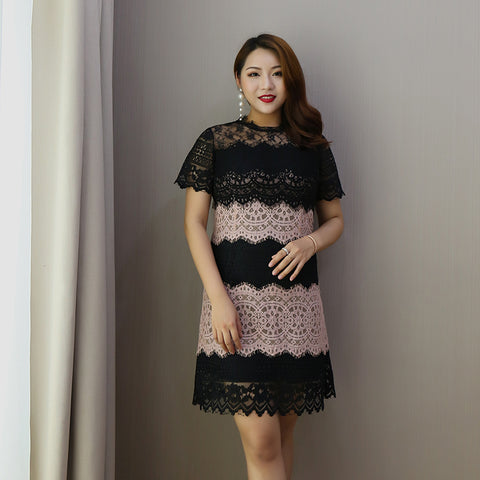 Multi Lace Plus Dress (L-4XL) - Gowns.sg