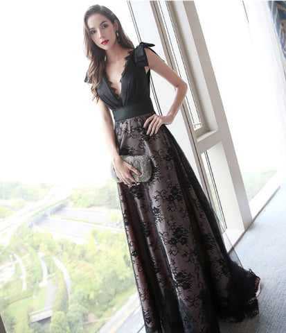 V Neck Lace Panel Gown - Gowns.sg