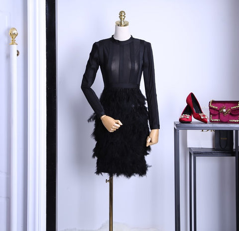 Feather Trimmed Sleeve Dress - Gowns.sg