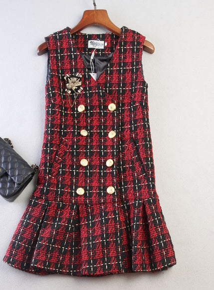 Checkered Buttons Tweed Dress - Gowns.sg