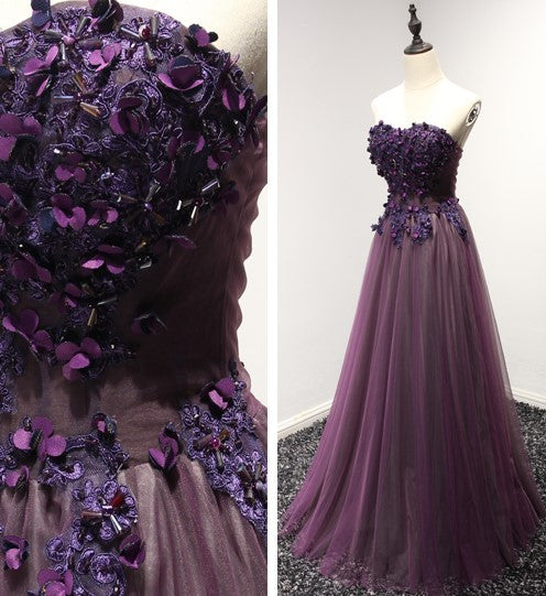 Mia royal purple tube gown - Gowns.sg
