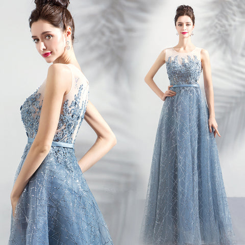 Camille Sequin Gown in Cerulean (up to 6XL) - Gowns.sg