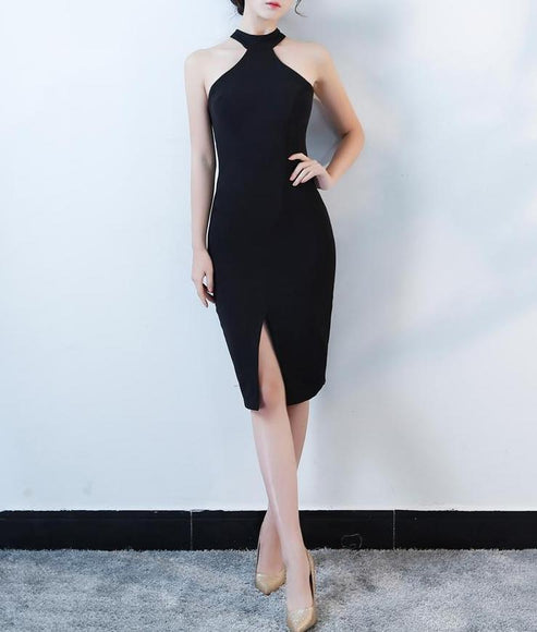 Little Black Halter Dress - Gowns.sg