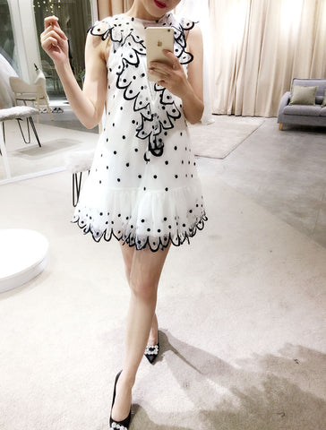 Dotted Mesh Dress (L Onwards) - Gowns.sg