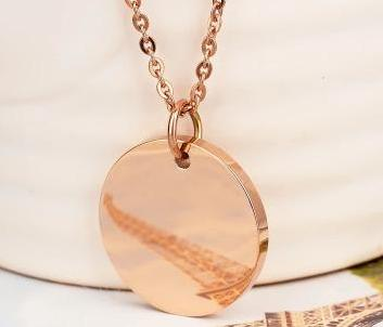 Personalised Round Pendant Necklace - Gowns.sg