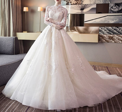 Mandarin Collar Wedding Gown - Gowns.sg