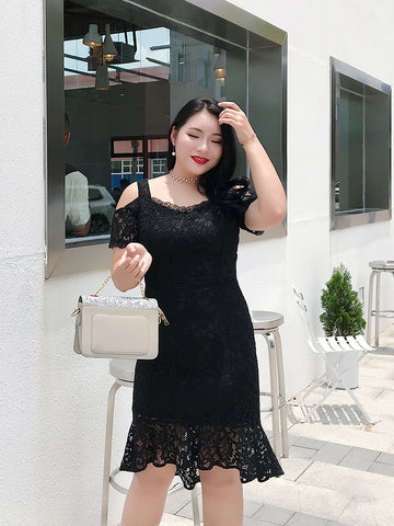 Cut Out Shoulder Lace Plus Dress (L-4XL) - Gowns.sg