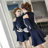 Military Buttons Dress - Gowns.sg