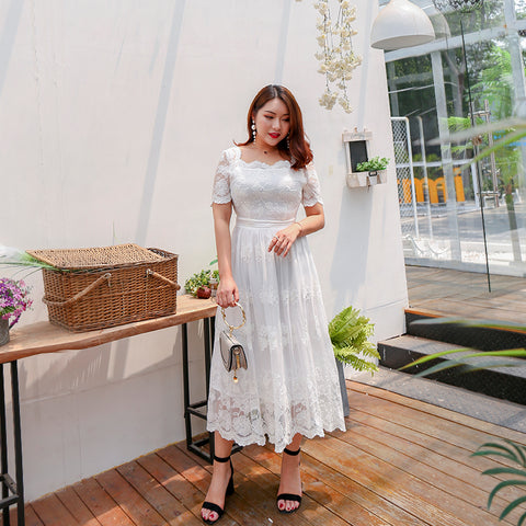 Pure Lace Plus Dress (L-4XL) - Gowns.sg