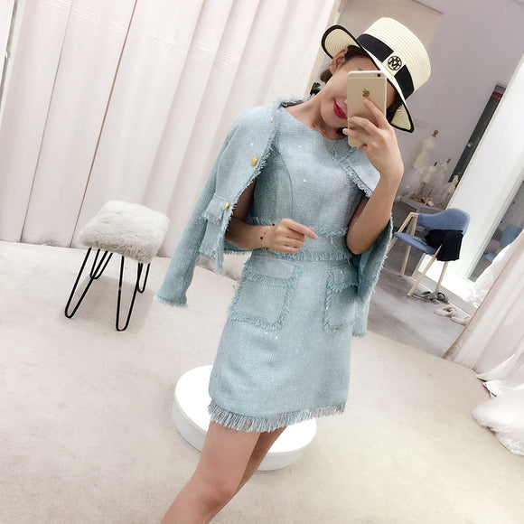 <plus><CS055>Belinda Blue Suit Outfit - Gowns.sg