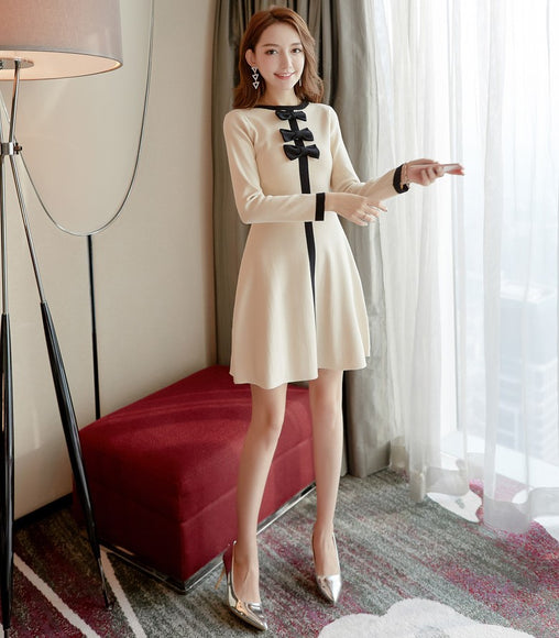 Ribbon Front Knit Dress - Gowns.sg