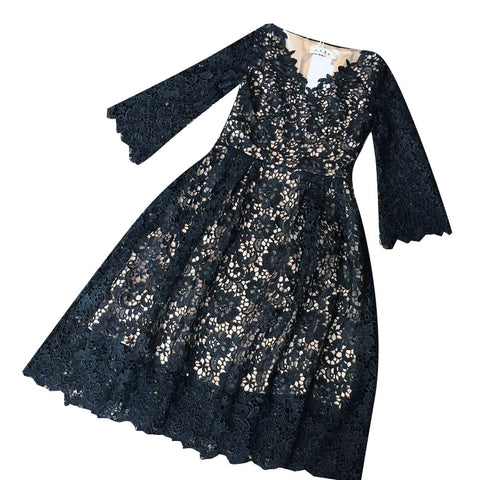 Applique Lace Sleeve Dress (L onwards) - Gowns.sg