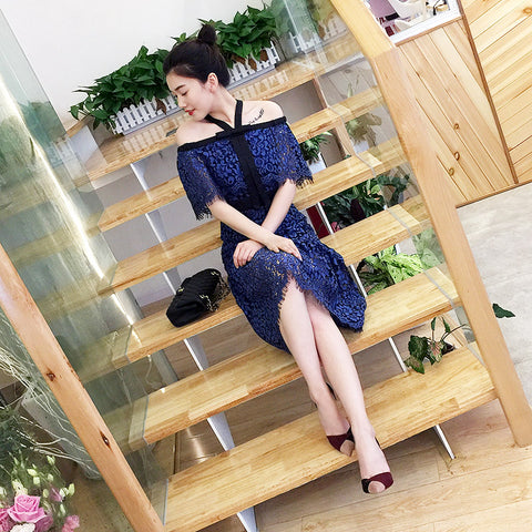 Off Shoulder Floral Lace PLUS Dress (L onwards) - Gowns.sg