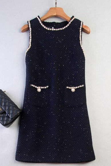 Tweed Sleeveless Shift Dress - Gowns.sg