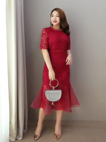 Red-Lace Special Hem Plus Dress - Gowns.sg